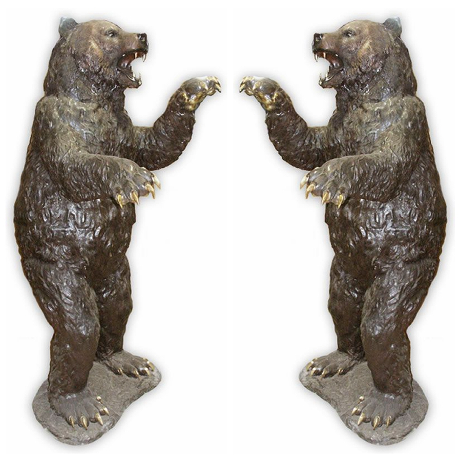 High quality brass life size baby standing bear statue for sale