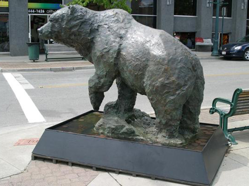 large outdoor bronze bear sculpture
