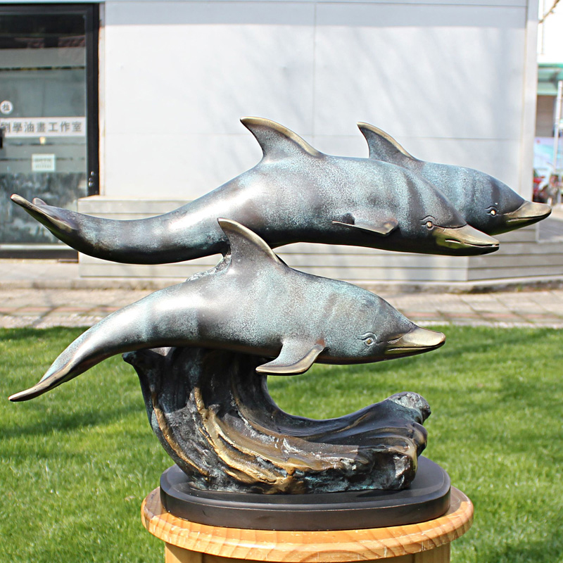 double dolphins bronze statue