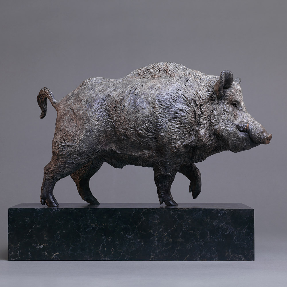 Bronze small wild boar statue for sale in yard