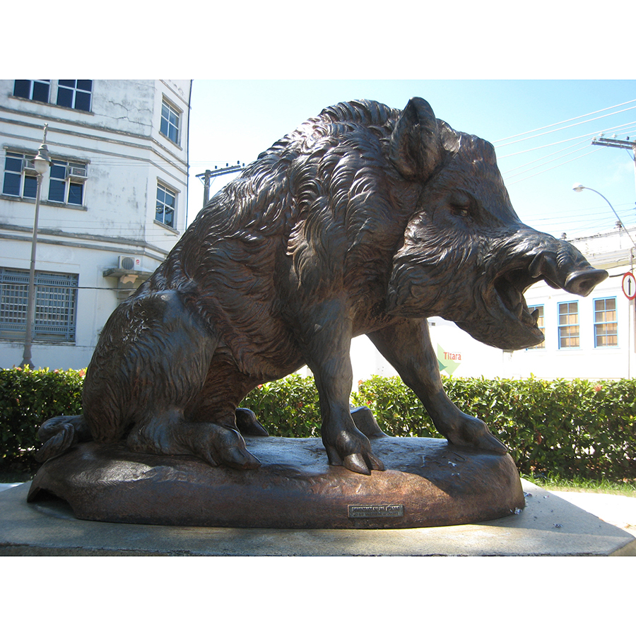 Plush bronze wild boar sculpture in yard hall