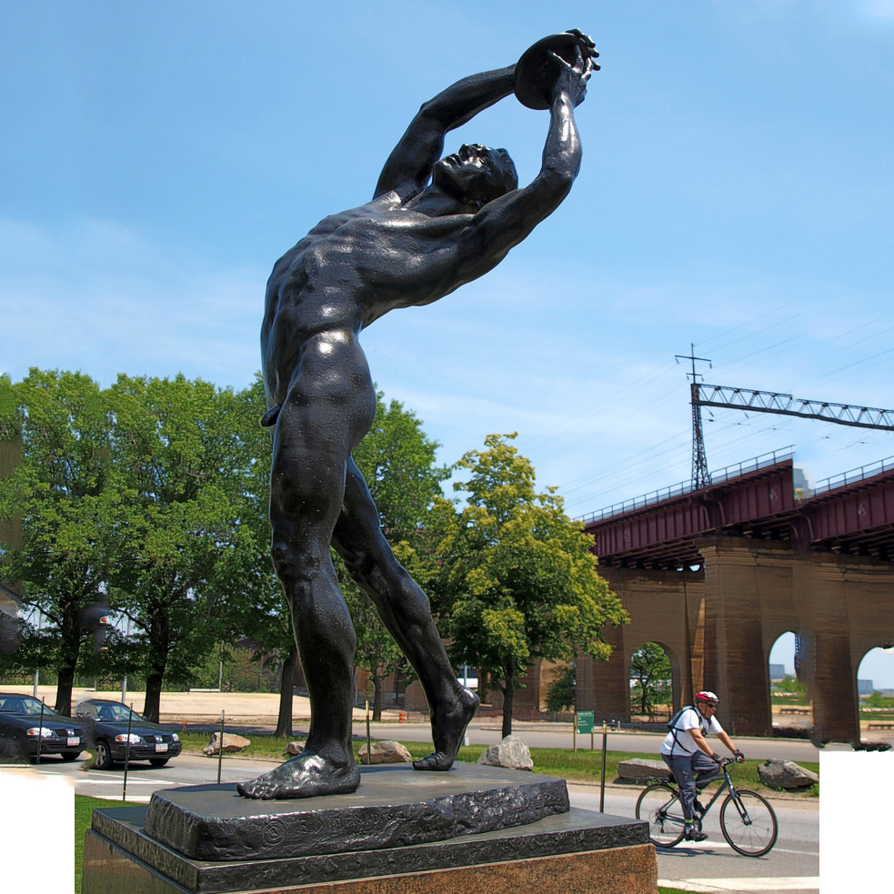 Bronze outdoor life size male discus thrower