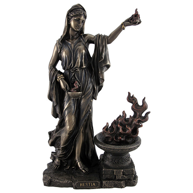 Ancient greek oven goddess bronze Hestia  statue