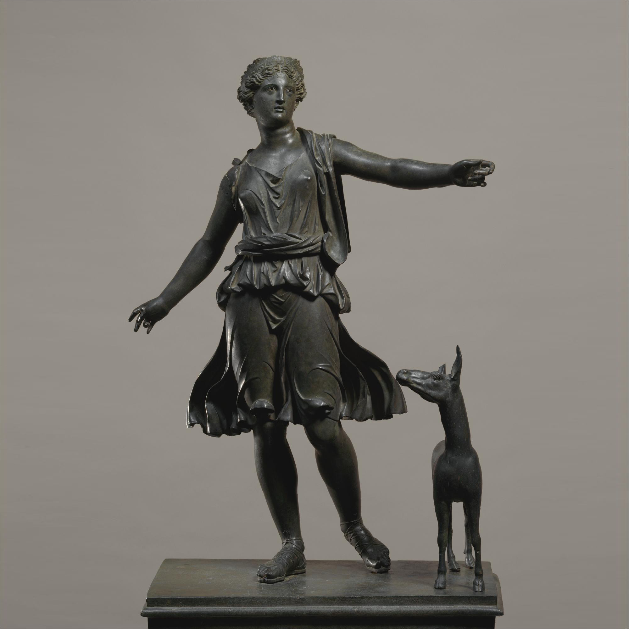 Bronze Artemis and a deer statue