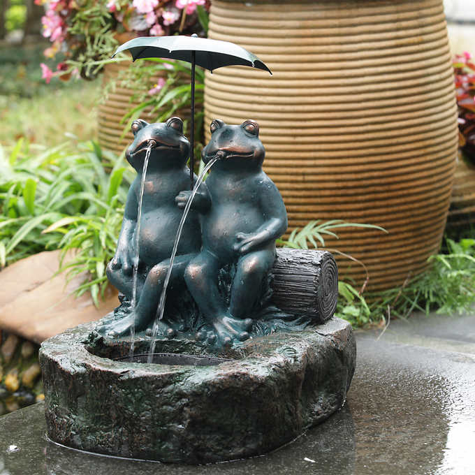 a couple frog under umbrella fountain