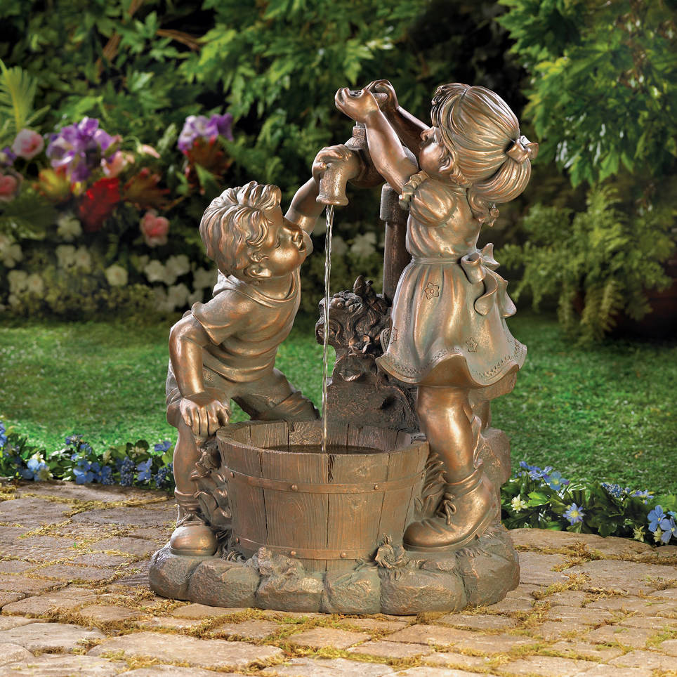 bronze children drink water faucet fountain