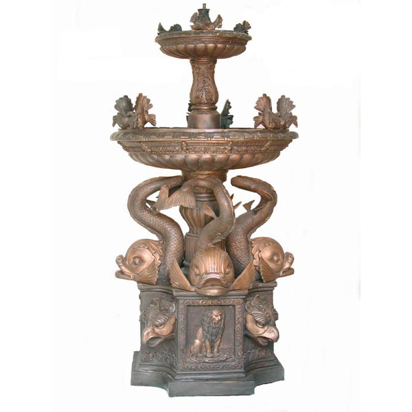 double tiers brozne fish fountain